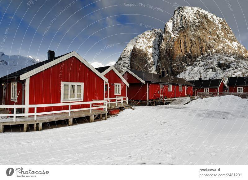 Himmel Natur Ferien & Urlaub & Reisen blau schön Landschaft Sonne weiß rot Erholung Haus Wolken ruhig Winter Fenster Berge u. Gebirge