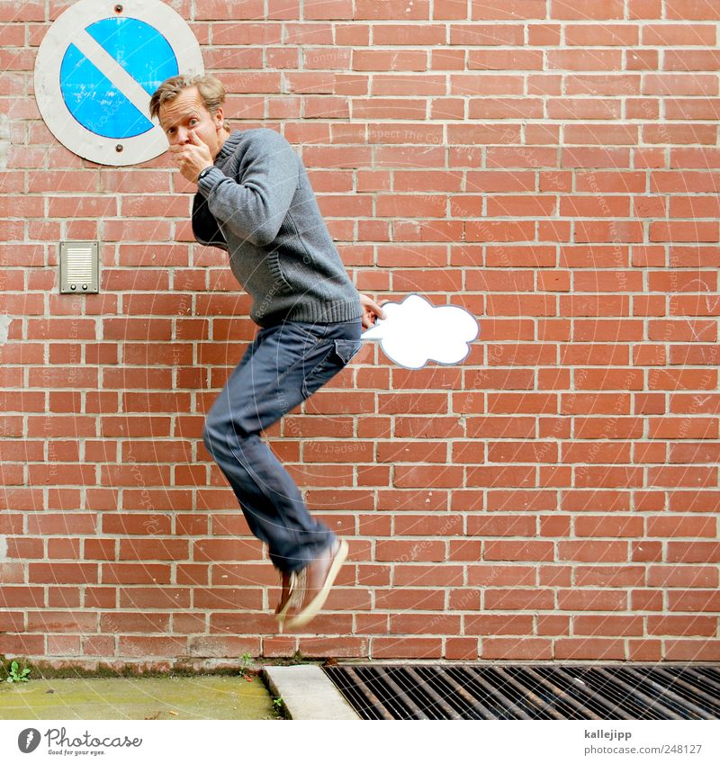 uups i did it again Mensch Mann Freude Erwachsene Ernährung Leben Mauer springen lustig Luft maskulin Backstein Gesetze und Verordnungen Comic Scham 30-45 Jahre