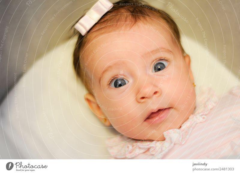 Kleines Babymädchen mit lustigem Überraschungsausdruck auf dem Gesicht Freude Glück schön Leben Kind Fotokamera Mensch Mädchen Kindheit 1 3-8 Jahre Lächeln