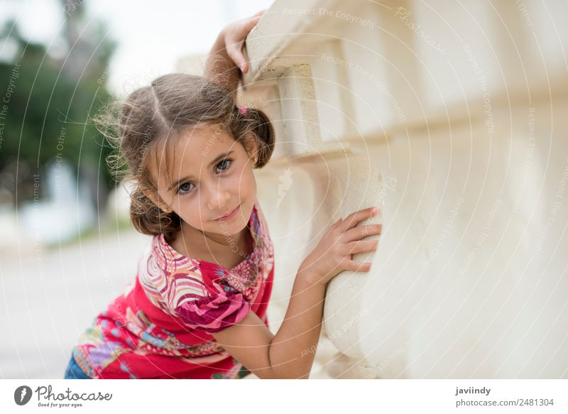Bezauberndes kleines Mädchen, gekämmt mit Zöpfen. Lifestyle Freude Glück schön Gesicht Sommer Kind Mensch Frau Erwachsene Kindheit 1 3-8 Jahre Natur Park