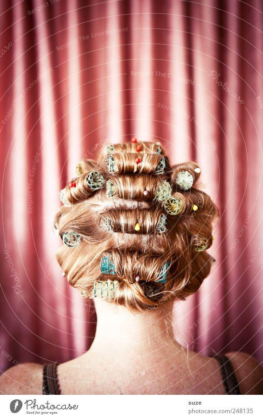 Lockvogel Lifestyle Stil schön Körperpflege Haare & Frisuren Friseur Mensch feminin Frau Erwachsene Kopf Rücken 1 Theaterschauspiel Show Stoff Maske Locken