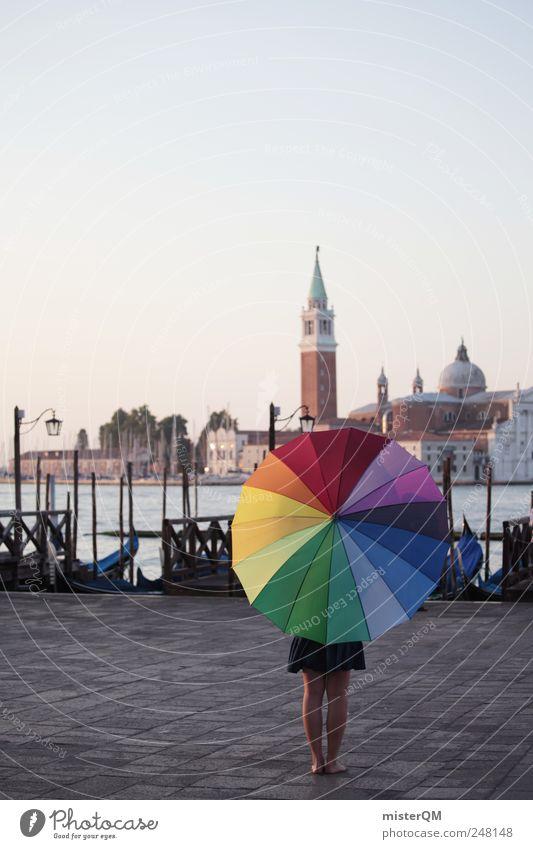 Let's Colour Venice I Kunst Reisefotografie außergewöhnlich Tourismus Design ästhetisch einzigartig Kreativität Italien Regenschirm Gemälde Karneval Postkarte