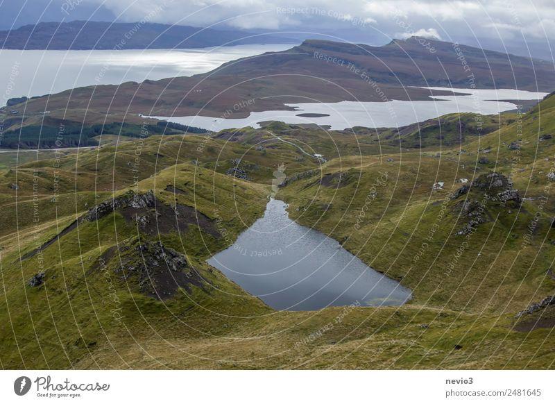 Schottisches Hochland Landschaft Sommer Herbst Schönes Wetter Gras Grünpflanze Wiese Hügel Felsen Berge u. Gebirge Küste Bucht See authentisch außergewöhnlich