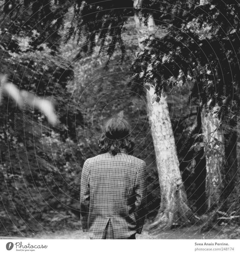 bis wir wissen was geht. Mensch Baum Erwachsene Tod Traurigkeit träumen gehen maskulin retro Ast 18-30 Jahre Jacke Locken langhaarig Liebeskummer schwarzhaarig