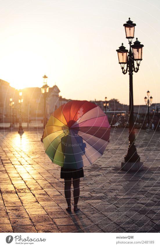 Let's Colour Venice II Frau Jugendliche Sonne Platz Tourismus ästhetisch einzigartig Spaziergang Kitsch Italien Regenschirm Straßenbeleuchtung Tourist Fußgänger