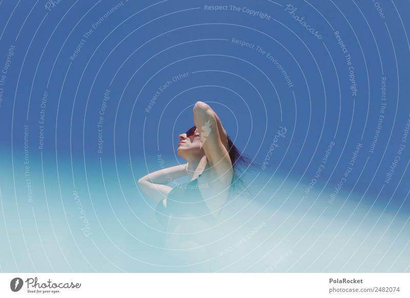 #A# Sommerfigur Frau Himmel Ferien & Urlaub & Reisen Erholung Umwelt Mode ästhetisch Schönes Wetter Klima Sommerurlaub Model Bikini sommerlich Urlaubsfoto