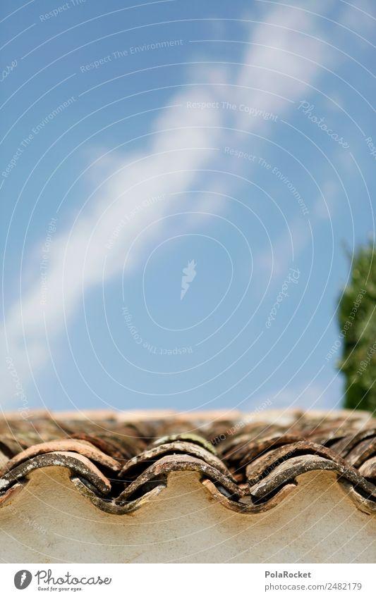 #A# Dachwelle Haus Dachrinne ästhetisch mediterran Dachziegel Frankreich Provence Süden Farbfoto Gedeckte Farben Außenaufnahme Nahaufnahme Detailaufnahme