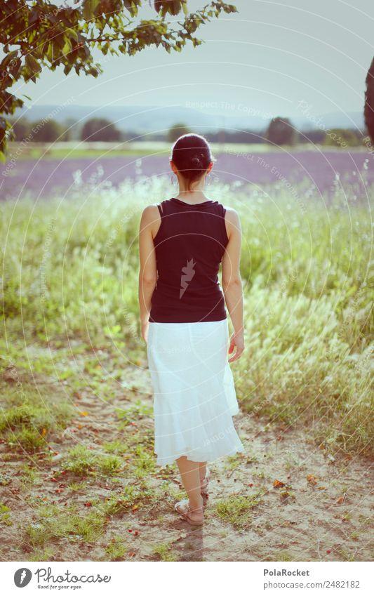 #A# Spaziergang in der Provence Frau Mensch Natur Sommer Umwelt Mode Feld ästhetisch Idylle laufen Sommerurlaub violett Frankreich Lavendel sommerlich