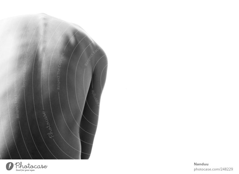 head lost Mensch nackt Rücken dünn seltsam krumm Wirbelsäule Wirbelsäulenverkrümmung