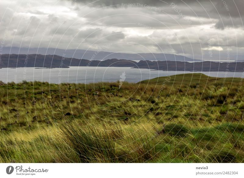 Isle of Sky in Schottland Landschaft Horizont Herbst Klima schlechtes Wetter Unwetter Regen Gras Wiese Feld Hügel Felsen Küste Meer Insel grün Großbritannien