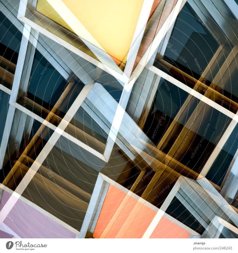 Windows elegant Stil Design Fassade Fenster Linie Coolness eckig trendy einzigartig modern verrückt mehrfarbig chaotisch Perspektive Surrealismus Zukunft