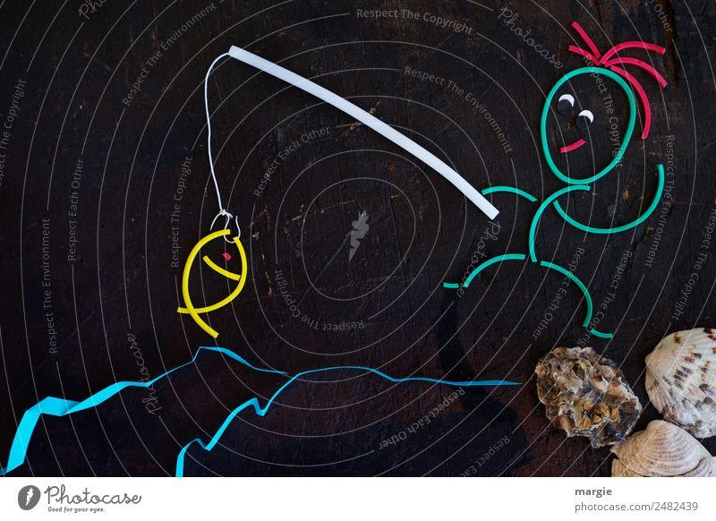 Gummiwürmer: Ein Angler hat einen Fisch gefangen Freizeit & Hobby Angeln Meer Wellen Mensch maskulin feminin androgyn Frau Erwachsene Mann 1 mehrfarbig schwarz