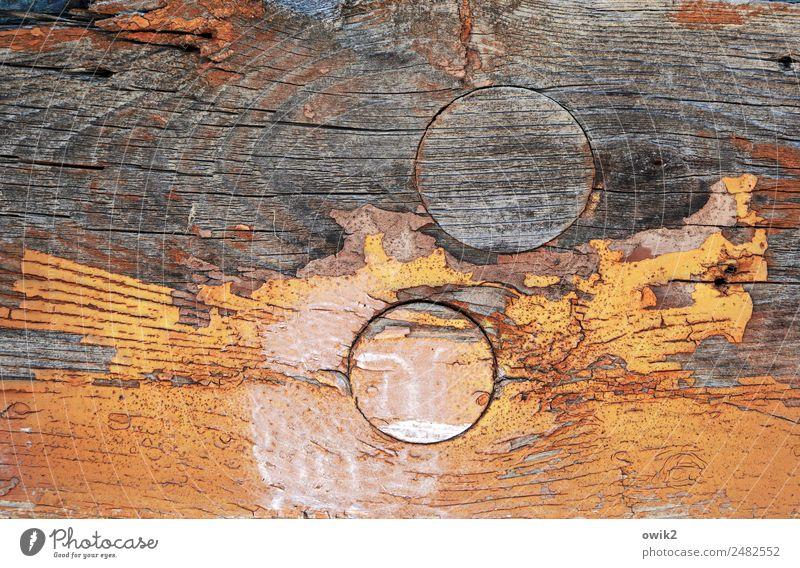 Interstellar Overdrive Kunst Holz alt rund orange bizarr Verfall Vergänglichkeit unklar Kreis Farbstoff Riss abblättern Zahn der Zeit Farbfoto abstrakt