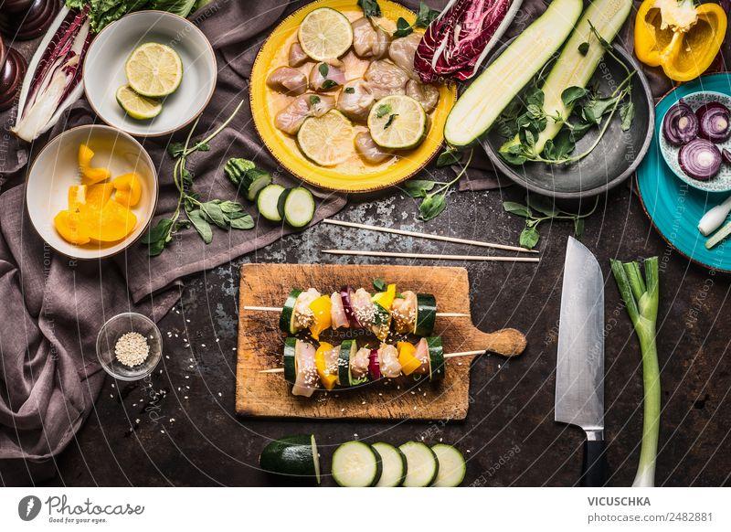 Hähnchenspieße mit Gemüse selbst machen Gesunde Ernährung Sommer gelb Lebensmittel Stil Häusliches Leben Design Tisch Küche Bioprodukte Grillen Essen zubereiten