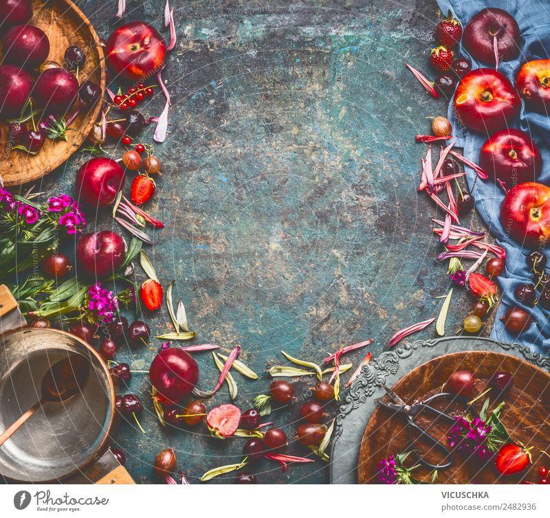Hintergrund mit Obst, Beeren , Teller und Topf Lebensmittel Frucht Dessert Marmelade Ernährung Bioprodukte Vegetarische Ernährung Geschirr Stil Design