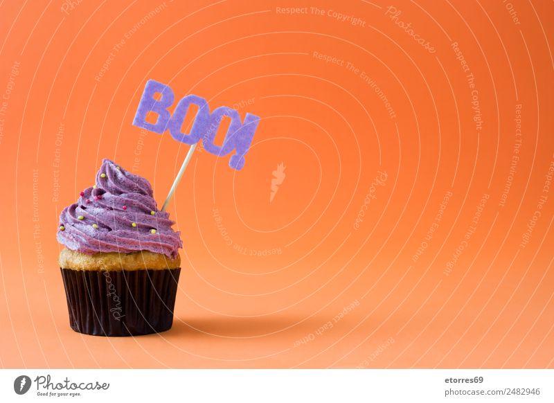 Halloween Cupcake auf orangem Hintergrund Lebensmittel Kuchen Dessert Süßwaren Ernährung natürlich violett Foodfotografie süß Sahne Dekoration & Verzierung