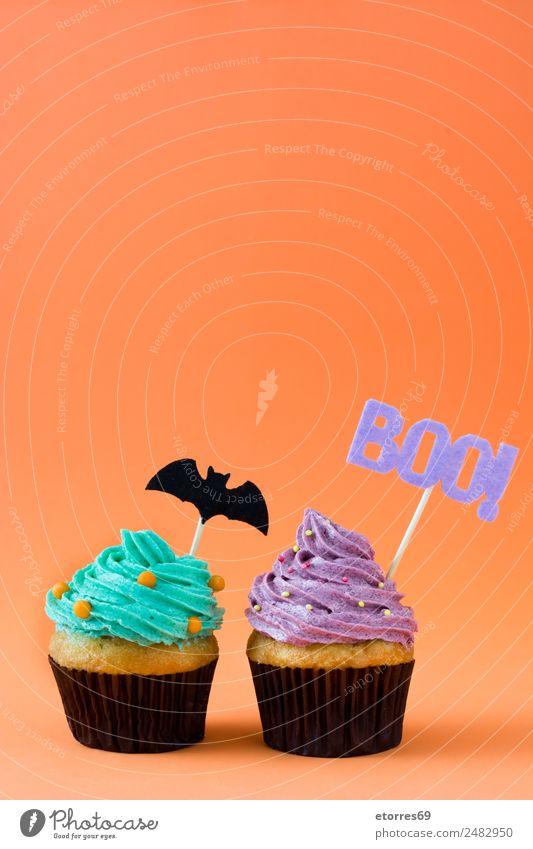 Halloween Törtchen Lebensmittel Kuchen Dessert Ernährung blau grün orange Cupcake süß Foodfotografie Dekoration & Verzierung Muffin Feste & Feiern festlich