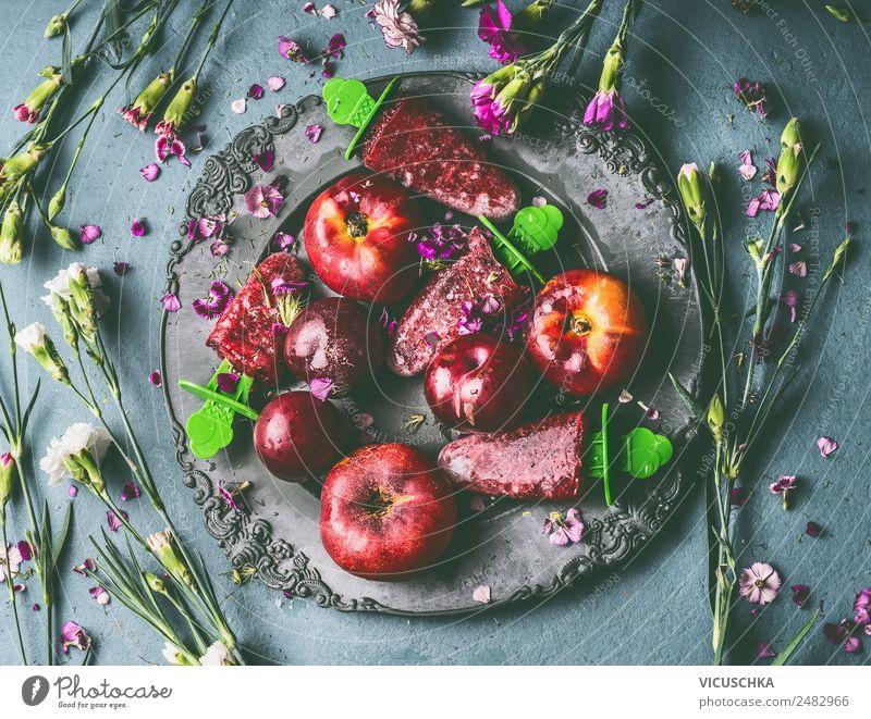 Teller mit hausgemachte Obst Eis am Stiel Lebensmittel Frucht Speiseeis Ernährung Bioprodukte Saft Stil Design Gesunde Ernährung Sommer Häusliches Leben Tisch
