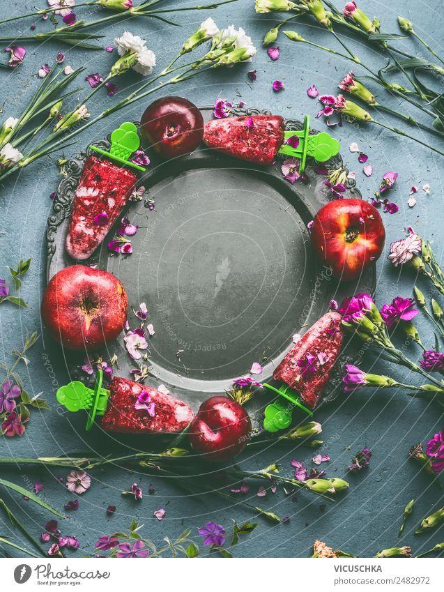 Hausgemachtes fruchtige Eis am Stiel Sommer Gesunde Ernährung Blume Foodfotografie Hintergrundbild Stil Lebensmittel Häusliches Leben Design Frucht Tisch