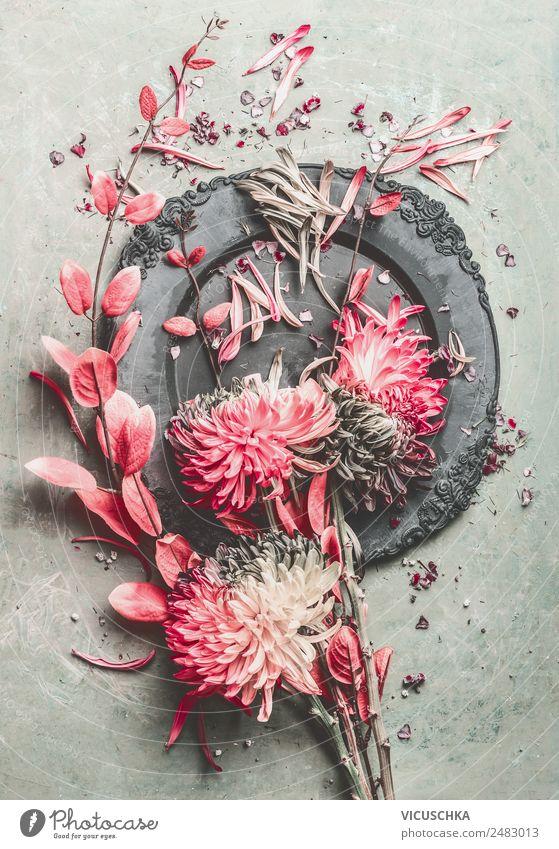 Blumen Stillleben Composing Design Häusliches Leben Dekoration & Verzierung Sträucher Blumenstrauß Ornament retro rosa Zweige u. Äste Chrysantheme Pastellton
