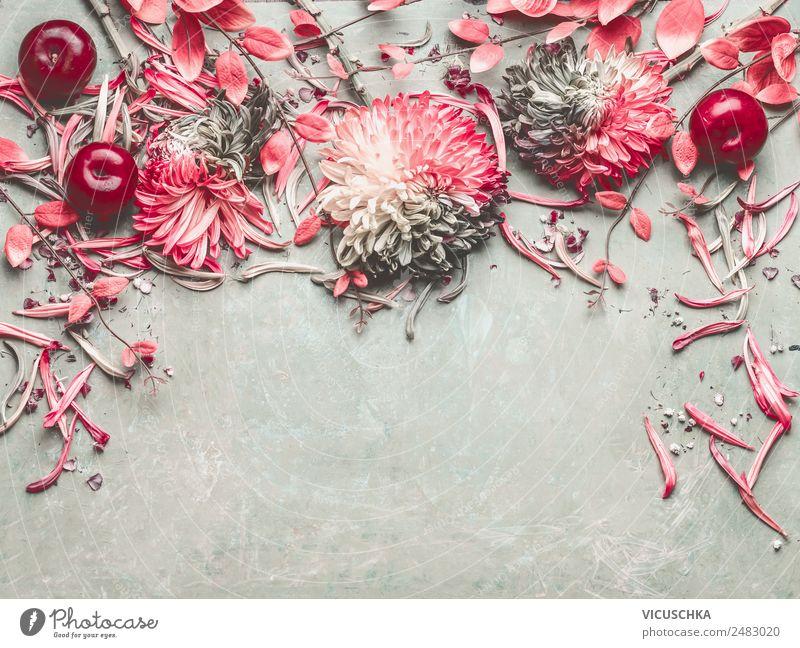 Sommer Obst und Blumen Stil Design Häusliches Leben Dekoration & Verzierung Schreibtisch Natur Pflanze Blatt Blüte Ornament Liebe Stillleben Hintergrundbild