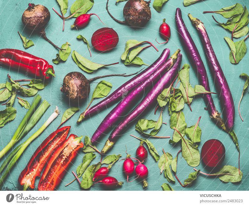 Bio saisonales Gemüse flat lay Lebensmittel Ernährung Stil Design Gesundheit Gesunde Ernährung Garten gelb Vegane Ernährung Vegetarische Ernährung Gartengemüse