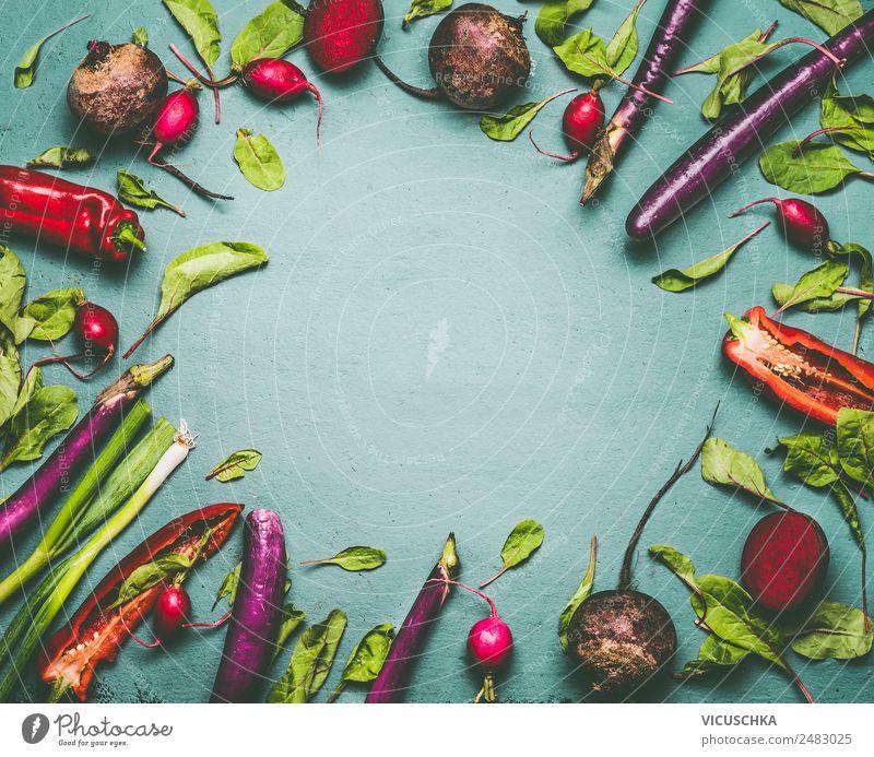 Verschiedenes Gemüse Rahmen, Draufsicht Lebensmittel Ernährung Bioprodukte Vegetarische Ernährung Diät kaufen Stil Design Gesunde Ernährung Hintergrundbild