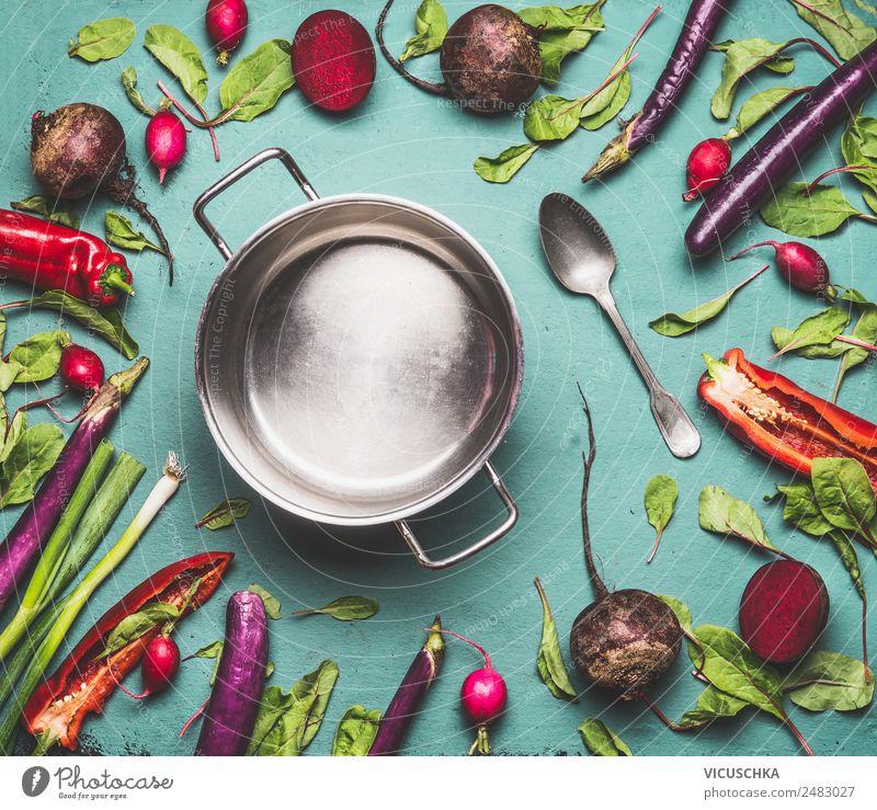 Kochtopf und Gemüse Lebensmittel Ernährung Bioprodukte Vegetarische Ernährung Diät Topf Stil Design Gesundheit Gesunde Ernährung Tisch Küche Vegane Ernährung