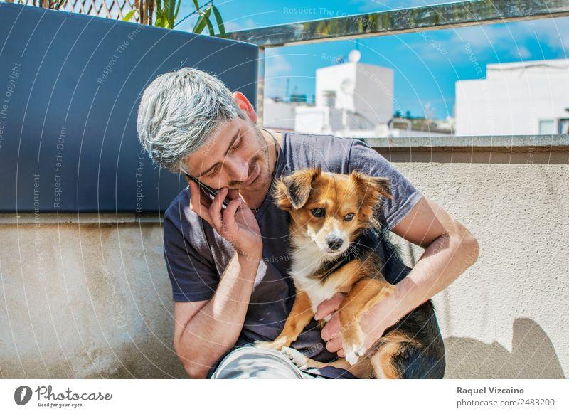 Junger Mann spricht am Telefon, während er seinen Hund streichelt. Handy maskulin Erwachsene Gesicht Arme 1 Mensch 18-30 Jahre Jugendliche Garten Tier Haustier