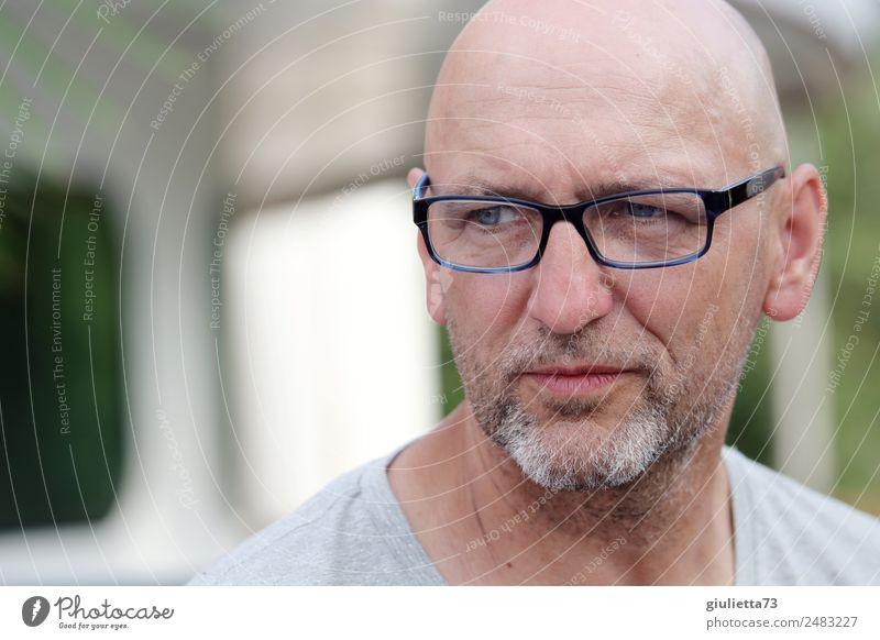 Wenn ich nur wüsste, ... | UT Dresden maskulin Mann Erwachsene Männlicher Senior 1 Mensch 45-60 Jahre 60 und älter Brille grauhaarig Glatze Bart Dreitagebart