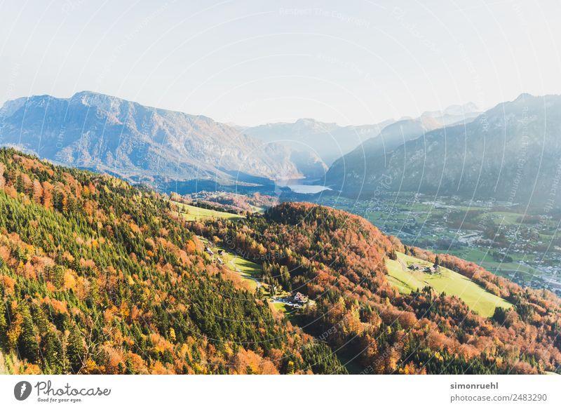 Austrian Autumn Natur Baum Erholung Wald Berge u. Gebirge Herbst See Stimmung Zufriedenheit Horizont Schönes Wetter Hoffnung Hügel Alpen Dorf Wolkenloser Himmel