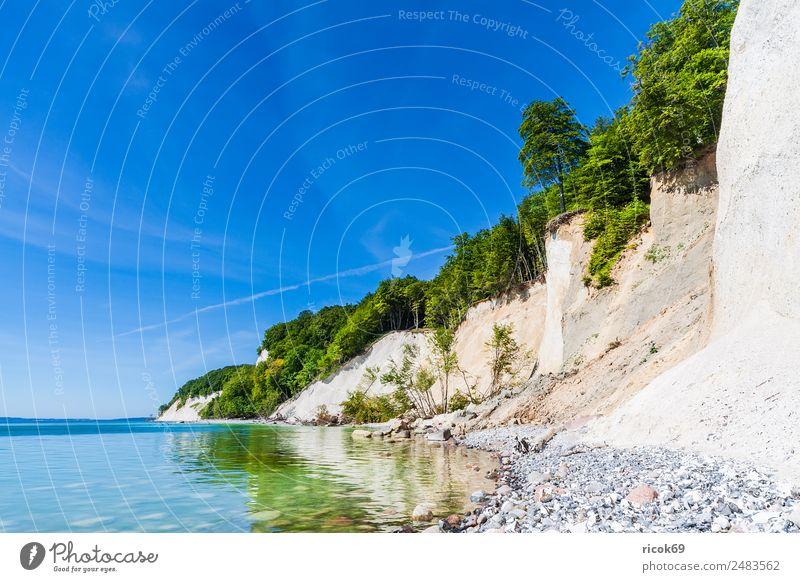 Die Ostseeküste auf der Insel Rügen Erholung Ferien & Urlaub & Reisen Tourismus Meer Natur Landschaft Wolken Baum Felsen Küste Sehenswürdigkeit Stein blau