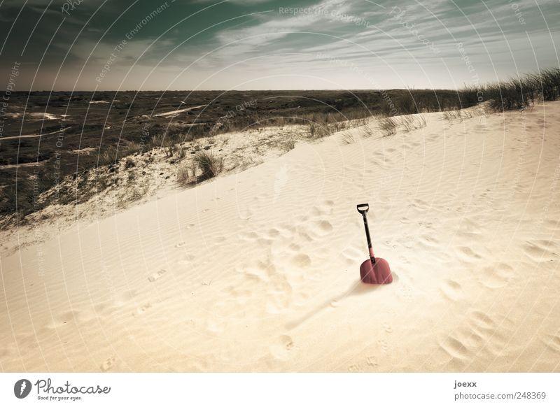 Landschaftsarchitekt Himmel grün rot Sommer Wolken schwarz gelb Sand Küste braun Pause Spuren Düne Fußspur Schönes Wetter