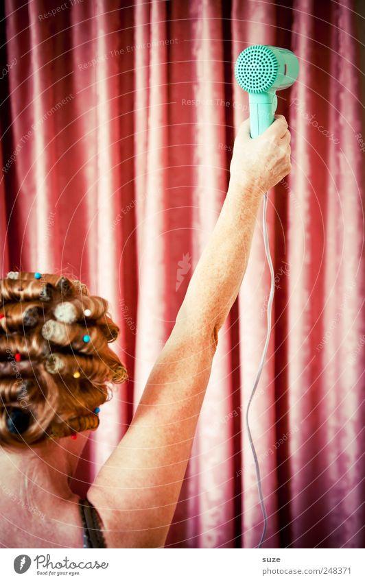 Revolution Frau Mensch schön feminin Erwachsene Kopf Haare & Frisuren Arme rosa Rücken Behaarung Streifen retro Stoff Show Maske