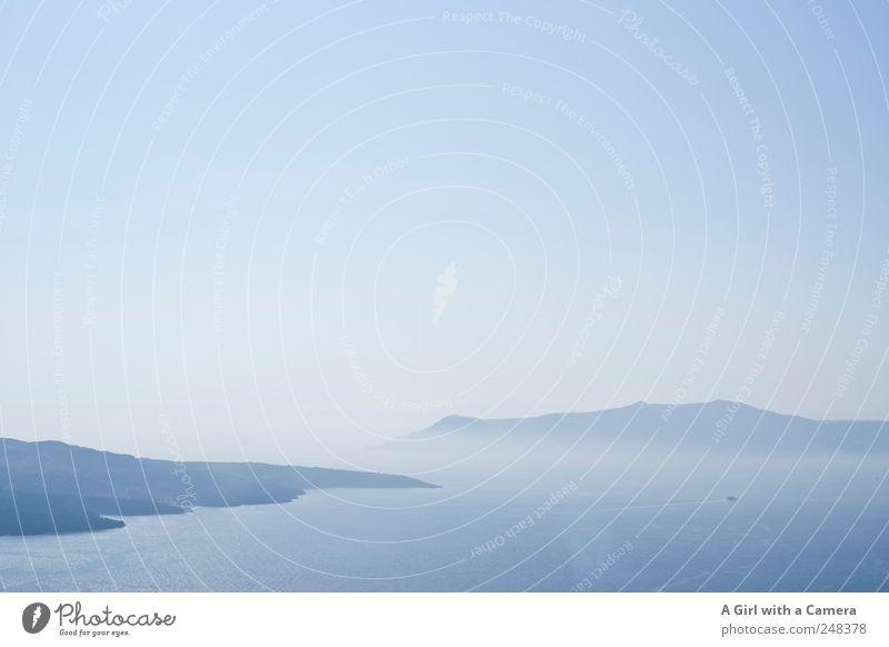 Santorini Bay Natur Wasser blau Sommer Berge u. Gebirge Landschaft Umwelt Küste elegant Felsen Insel natürlich authentisch Unendlichkeit Spuren Idylle