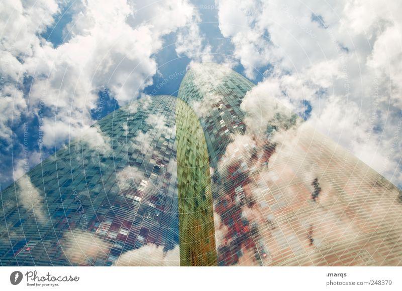 1200 | Twins Himmel schön Ferien & Urlaub & Reisen Wolken Stil Architektur Gebäude Fassade Hochhaus Design Lifestyle modern Perspektive Bankgebäude
