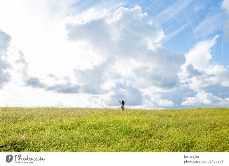 Mädchen, das auf einem Feld mit gelben Blumen spazieren geht, sonniger Tag Mensch feminin Kind Kindheit 1 3-8 Jahre atmen Bewegung genießen laufen Spielen