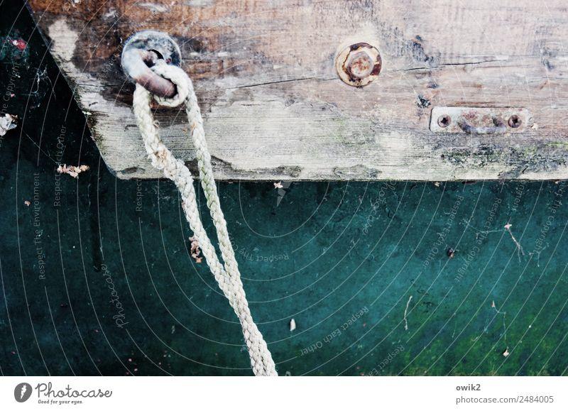 Tauende Bordwand Seil Holz Metall fest maritim Farbstoff Bootslack Farbfoto Gedeckte Farben Außenaufnahme Detailaufnahme Menschenleer Textfreiraum links