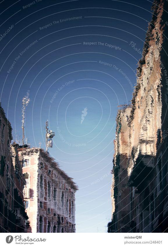versunken. Wasser Haus träumen Gebäude Wellen Kunst ästhetisch Surrealismus falsch untergehen Venedig traumhaft Wasseroberfläche Wellengang wellig Canal Grande
