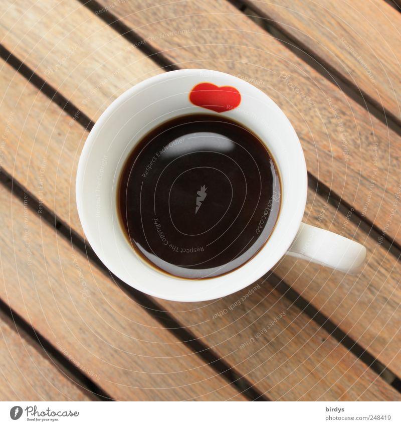 Schwarzer Kaffee mit Herz Kaffeetrinken Tasse Duft ästhetisch Freundlichkeit heiß lecker positiv rund schön braun rot schwarz weiß Gastfreundschaft ruhig