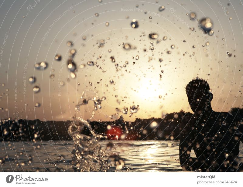 Platsch-Quatsch I Kunst ästhetisch Wasser Sommer Sommerurlaub Freiheit Wassertropfen Jugendliche modern Lifestyle Schwerelosigkeit Mann Freibad Flüssigkeit nass