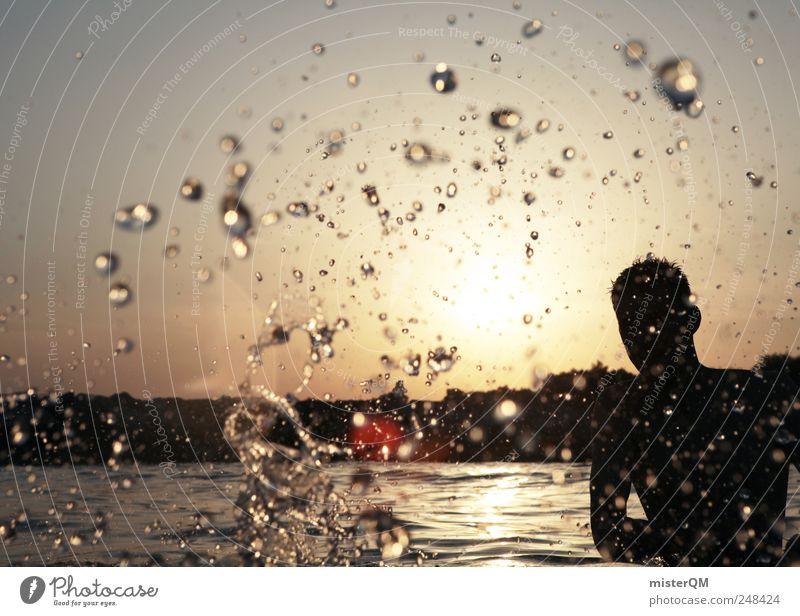 Platsch-Quatsch I Mann Jugendliche Wasser Sommer Freiheit Kunst nass modern Wassertropfen ästhetisch Lifestyle Flüssigkeit Erfrischung Sommerurlaub spritzen sommerlich