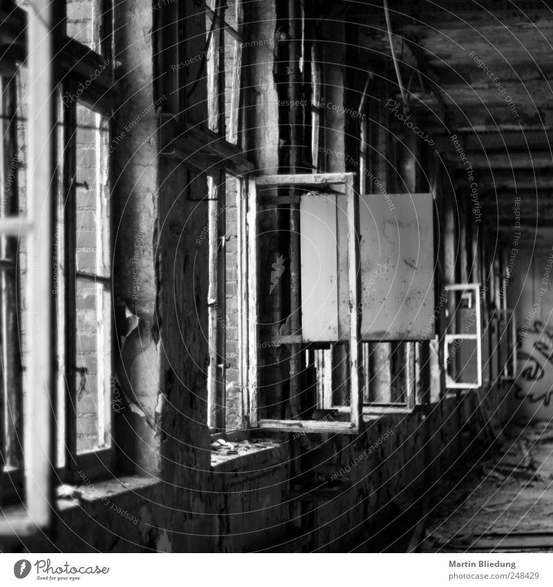 Windows Vista alt weiß schwarz Haus dunkel Fenster dreckig authentisch Vergangenheit Verfall Zerstörung Nostalgie Klischee Fabrikhalle Endzeitstimmung