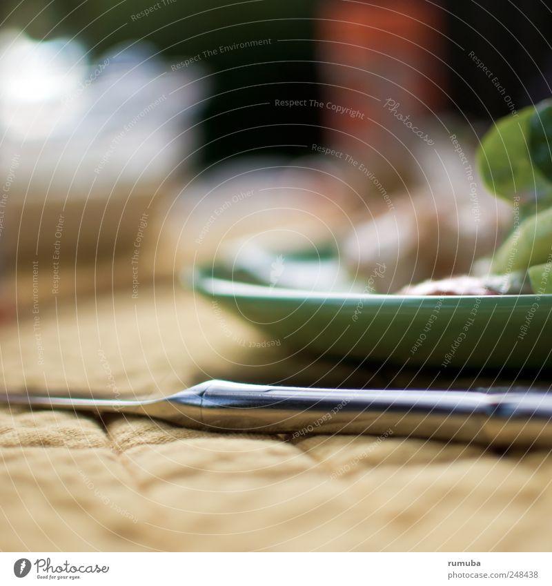 Messerscharf grün Erholung Ernährung Lebensmittel Appetit & Hunger genießen Teller silber Abendessen Mittagessen Scharfer Gegenstand