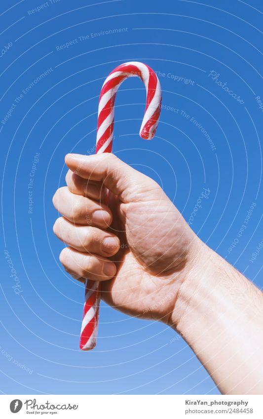 Himmel Mann Weihnachten & Advent blau weiß Hand rot Winter Erwachsene Feste & Feiern Design modern Dekoration & Verzierung Geschenk Idee Symbole & Metaphern
