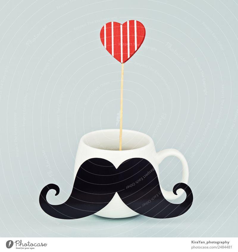 Weißer Becher mit schwarzem Schnurrbart und rotem Herzen Kaffee Lifestyle Stil Design Glück Dekoration & Verzierung Feste & Feiern maskulin Mann Erwachsene