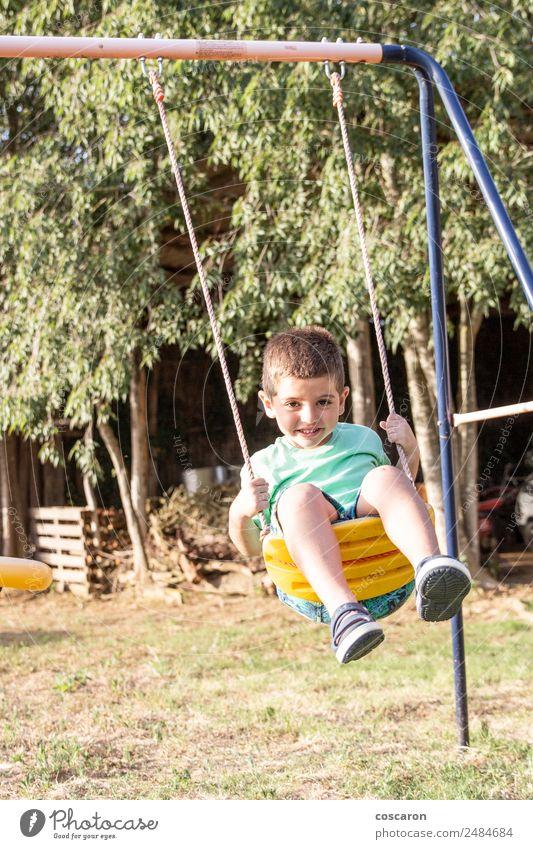 Süßer kleiner blonder Junge, der auf Schaukeln schwingt. Lifestyle Freude Glück Gesicht Freizeit & Hobby Spielen Freiheit Sommer Kind Mensch Kleinkind Mann
