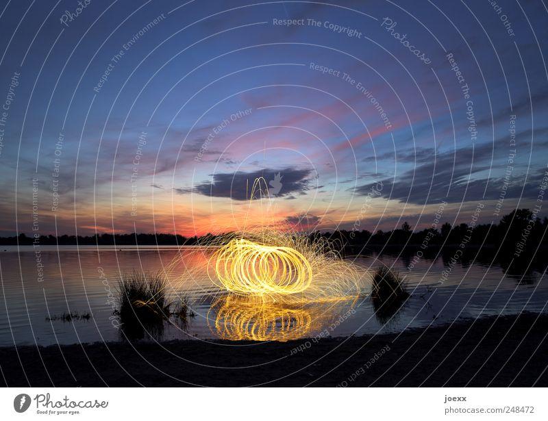 Feuerzauber Himmel Wasser blau Pflanze rot Wolken schwarz gelb Bewegung See violett drehen Seeufer Schönes Wetter Glut