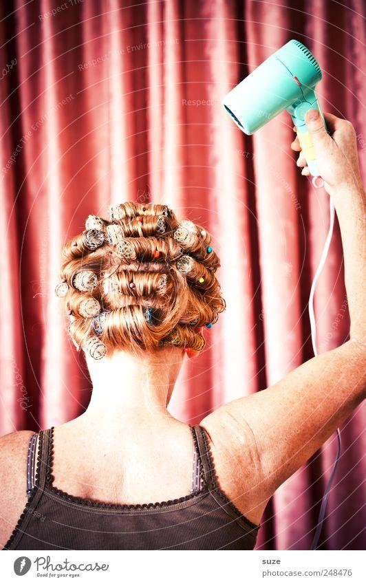 Total verfönt! Frau Mensch schön Erwachsene feminin Kopf Haare & Frisuren Arme rosa Rücken Behaarung Streifen retro Stoff Show Maske