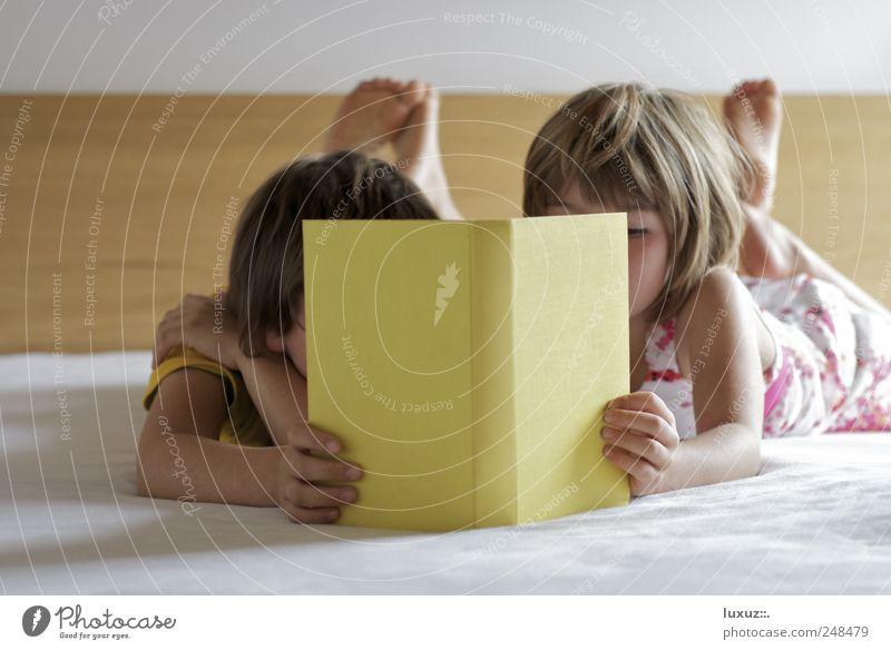 Gemeinsam entdecken ruhig Spielen Bildung lernen Team Geschwister Bruder Schwester Familie & Verwandtschaft Medien Buch lesen liegen Neugier klug Vertrauen